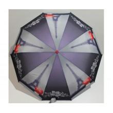 Женский зонт автомат 3 сложения FLAGMAN Антиветер 10 спиц