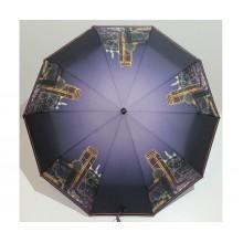 Женский зонт автомат 3 сложения FLAGMAN Антиветер 10 спиц Темно-серый