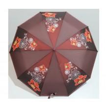Женский зонт автомат 3 сложения FLAGMAN Антиветер 10 спиц Бордовый