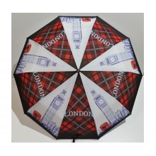 Женский зонт автомат 3 сложения FLAGMAN Антиветер 10 спиц Красный