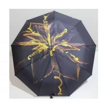 Женский зонт автомат 3 сложения FLAGMAN Антиветер 9 спиц Желтый