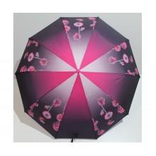 Женский зонт автомат 3 сложения FLAGMAN Антиветер 10 спиц Розовый