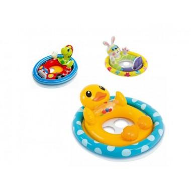 Плотик круг ходунки надувной для плавания купания с ножками детский Intex «Животные» от 3 лет