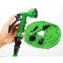 Усиленный растягивающийся шланг для полива Hose X-hose 22,5 м с пистолетом-насадкой на 7 режимів  Зелёный