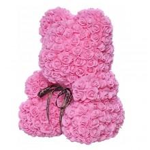 Мишка из роз Teddy Bear 25 cм в подарочной упаковке Оригинал Розовый (1017)