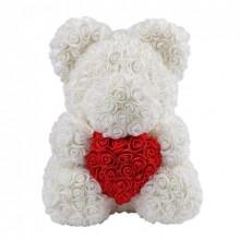 Мишка из латексных роз (Teddy Bear) 40 cм + подарочная упаковка Оригинал Белый (1015)