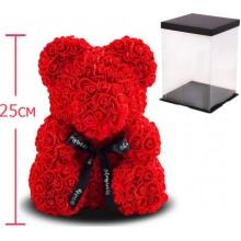 Мишка из латексных роз (Teddy Bear) 25 cм в подарочной упаковке Оригинал Красный (1016)